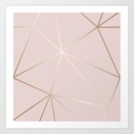 Rose Gold Geometric Pattern Art Print