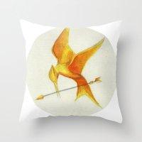 mockingjay Throw Pillows featuring Mockingjay THGames by Blanca MonQnill Sole