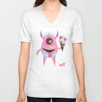 icecream V-neck T-shirts featuring Icecream by baffdesign