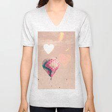 Hot air balloon nursery and heart bokeh on pale pink Unisex V-Neck