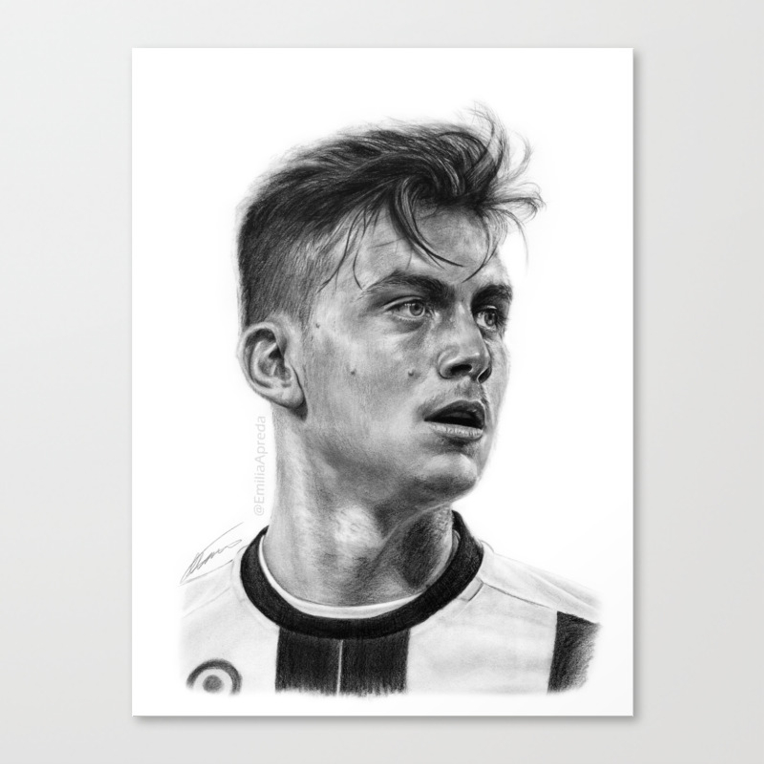 Paulo dybala pencil drawing canvas print