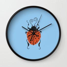 Little Ladybug Blue Wall Clock