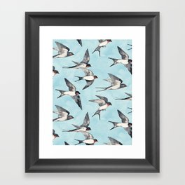 Blue Sky Swallow Flight Framed Art Print