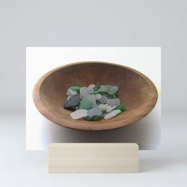 Green and White Sea Glass Mini Art Print