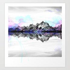 Watercolor Mountain Range Art Print