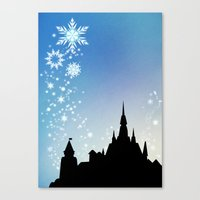 pixar Canvas Prints featuring Pixar Frozen Castle with Snowflakes by Teacuppiranha