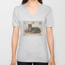 Vintage Illustration of a Domestic Cat (1872) Unisex V-Neck