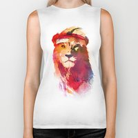 gym Biker Tanks featuring Gym Lion by Robert Farkas