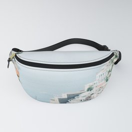 Positano landscape with white flowers Fanny Pack