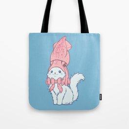 White Cat Wears Squid Hat Tote Bag