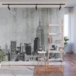 New York City Skyline Gray Texture Wall Mural