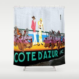 Cote d'Azur Graffiti - Tag Tag Tag Shower Curtain