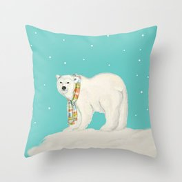Chilly polar bear in winter Throw Pillow