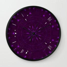 Psychadelic Space Mandala - Blackberry Wall Clock