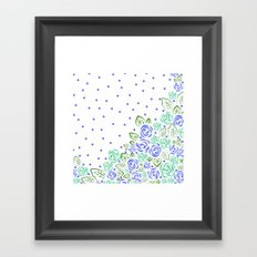 Garden Rose and Dots - Blue Mint Framed Art Print