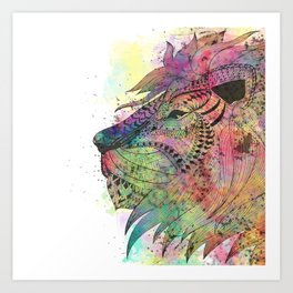 Awesome tribal watercolor lion design Art Print