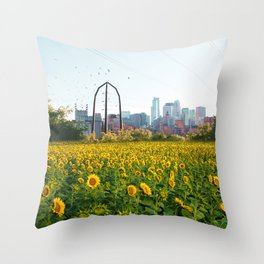 Minneapolis Minnesota Skyline and Sunflowers-Mpls Throw Pillow