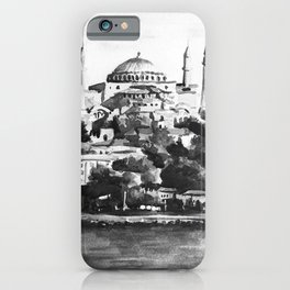 Istanbul Hagia Sophia Turkey Black and White Watercolor Painting iPhone Case