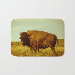 Vintage Bison - Buffalo on the Oklahoma Prairie Bath Mat