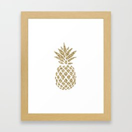 Gold Glitter Pineapple Framed Art Print