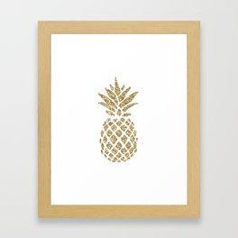 Gold Glitter Pineapple Framed Art Print
