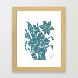 Daffodils Line Drawing, White Ink on Moody Blue Framed Art Print