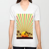 reggae V-neck T-shirts featuring Sunshine Reggae by A-Devine