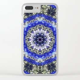 Happy Blues - blue and white kaleidoscope from lighted trees 1430 Clear iPhone Case