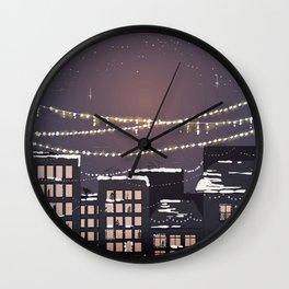 Snowy Night in the City - Manhattan New York City Winter Skyline Wall Clock