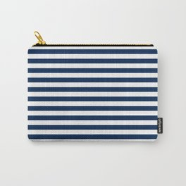 Slate blue and White Thin Stripes - Navy Nautical Pattern Carry-All Pouch