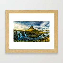 Triple waterfalls of Kirkjufell in Iceland II Framed Art Print