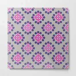 Grey, Pink and Navy Style 3 Repeating Tile Digital Design Metal Print