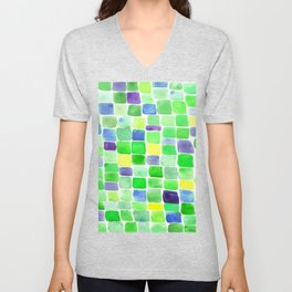 Colorfield Green and Blue Unisex V-Neck