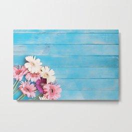 Flowers x Faded Blue Wood Metal Print