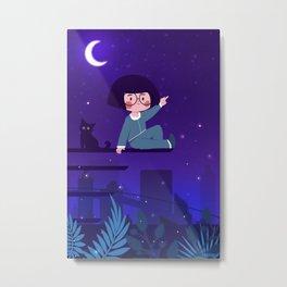 Night Cat And Girl Metal Print