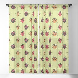 Lady Bug Yellow Sheer Curtain
