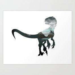 Velociraptor Minimalist Splash Art Print
