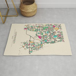 Colorful City Maps: Copenhagen, Denmark Rug
