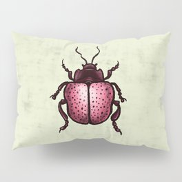 Pink Beetle With Dots Insect Art Pillow Sham