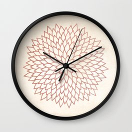 Mandala Flower Rose Gold on Cream Wall Clock