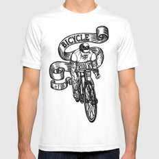 Bicycle Rider MEDIUM Mens Fitted Tee White