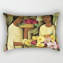 Mujeres con flores (Woman selling Zinnias, Lilies, Angels Trumpet & Begonias) by Alfredo Martinez Rectangular Pillow