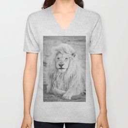 Albino Lion (Black and White) Unisex V-Neck