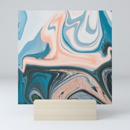Blue Vanilla Cream Liquid Marble Swirling Pattern Texture Artwork #1 Mini Art Print