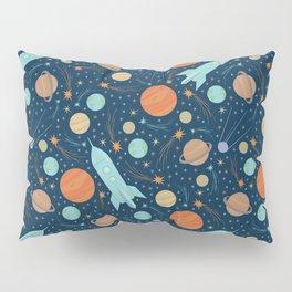 Blue rockets amoung orang and yellow planets and shooting stars Pillow Sham