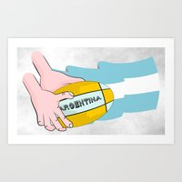 argentina Art Prints featuring Argentina Rugby by mailboxdisco