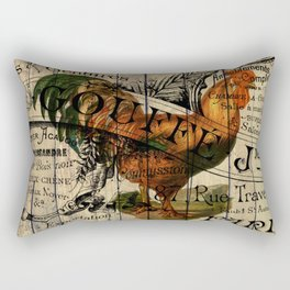 vintage typography barn wood shabby french country poulet chicken rooster Rectangular Pillow