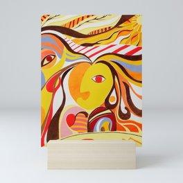 'Reflection' Colourful Cubism Figurative Bright Portrait in Mirror Mini Art Print