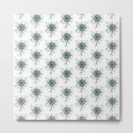 Love in a Mist | The Romantic | Nigella damascena flower repeat pattern light blue Metal Print
