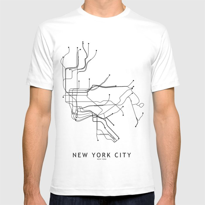 Nyc Subway Map T Shirt.New York City White Subway Map T Shirt By Multiplicity